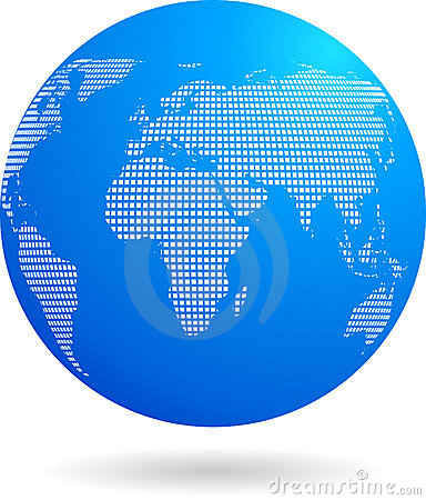 Blue globe icon - technology theme