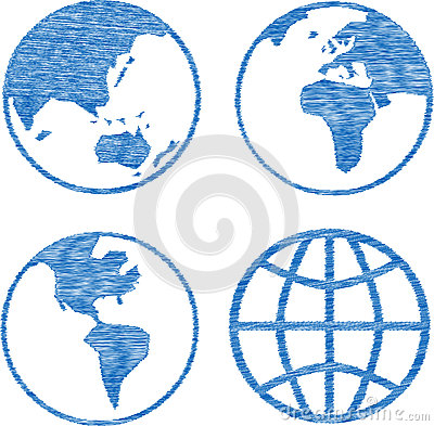 Blue Globe Rubber Stamp Set Sketchy