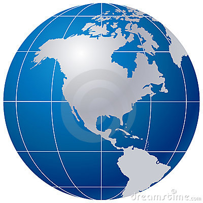 Blue globe on white