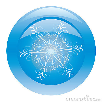 Blue glossy button with snowflake
