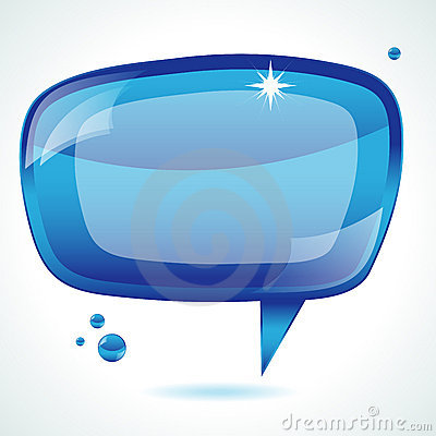 Blue glossy speech bubble