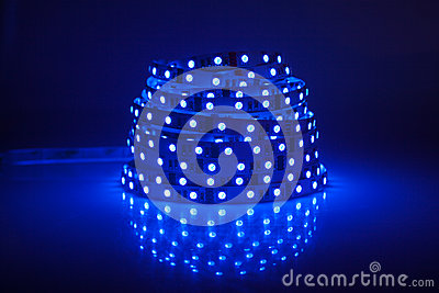 Blue glowing LED garland