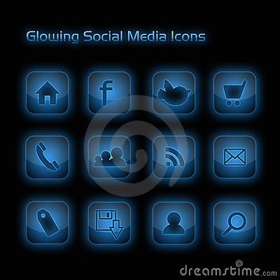 Blue Glowing Social Media Icons