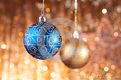 Blue and gold christmas baubles