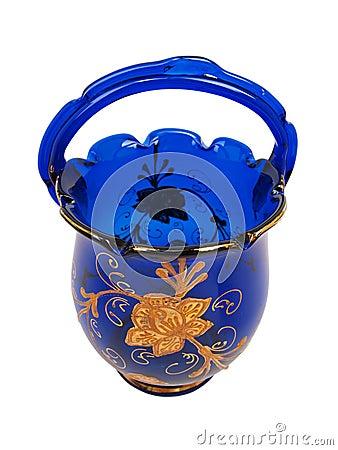 Blue Gold Crystal Basket
