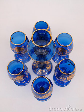 Blue Gold Crystal Deco Glass Items Circular Format