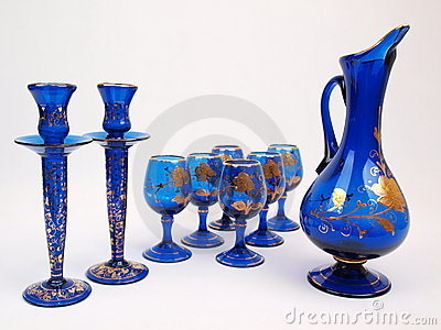 Blue Gold Crystal Deco Glass Items Jug