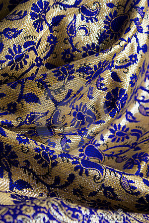 Blue and gold fabric