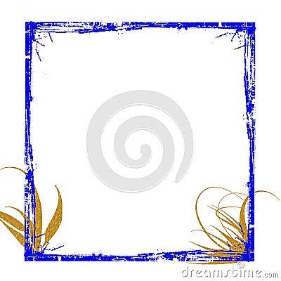 Blue gold frame grunge