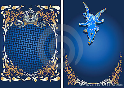 Blue And Gold Romance Ornate Banner With Cupid.