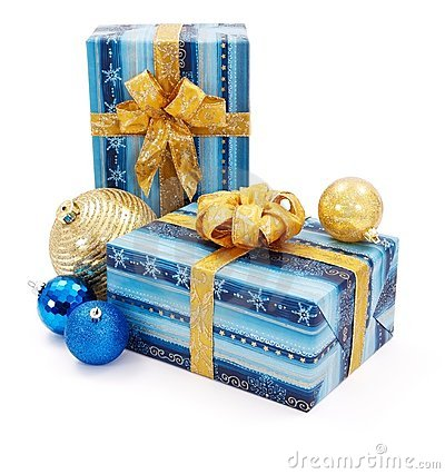 Blue - golden Christams presents and ornaments