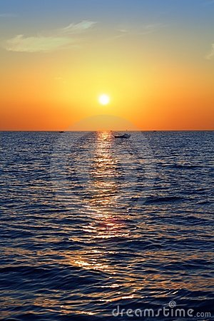 Blue golden sunrise seascape sea ocean red sky