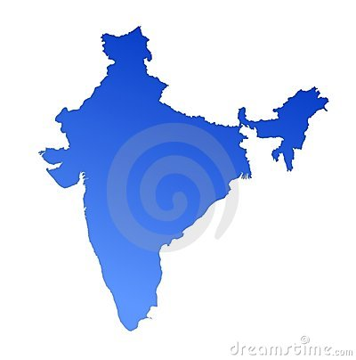 Blue gradient map of India