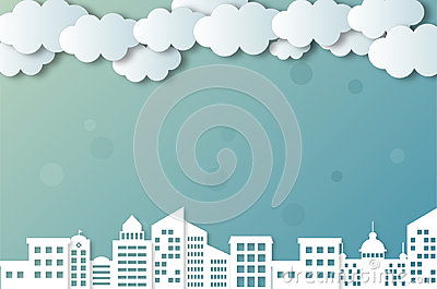 Vector clouds and cities Vector Illustration