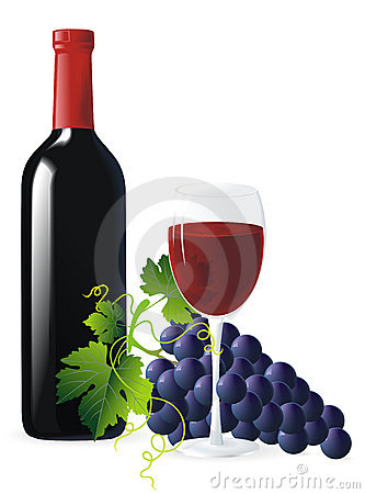 Blue grapes and bottle of wine