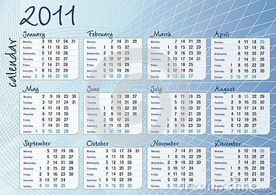 Blue graphic all-months calendar