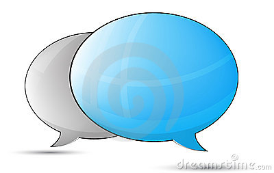 Blue an gray talk balloons