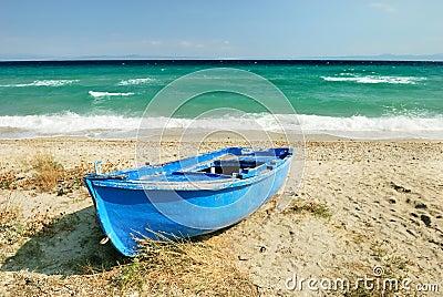 Blue greek fisherman boat