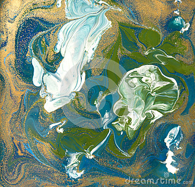 Free Blue, Green And Gold Liquid Texture. Hand Drawn Marbling Background. Ink Marble Abstract Pattern Royalty Free Stock Photo - 87437325