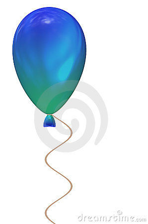 Blue & Green Balloon w White Background