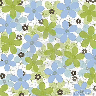 Blue and green daisies on white background