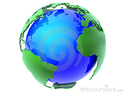 Blue and green earth globe