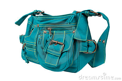 Blue-green fabric women bag