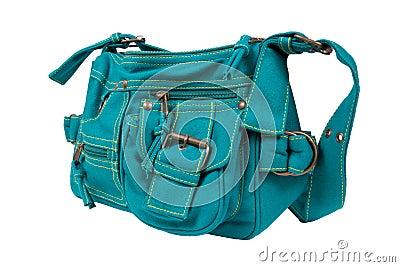 Blue-green fabric women bag