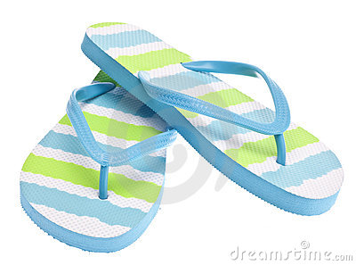 Blue and Green Flip Flop Sandals