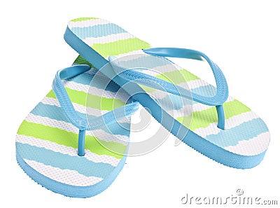 Blue and Green Flip Flop Sandals