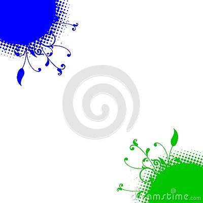 Blue green floral dots corners background