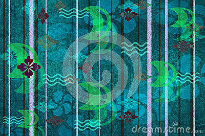 Blue Green Floral Wallpaper