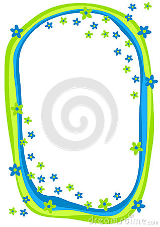 Blue and Green Flowers Frame