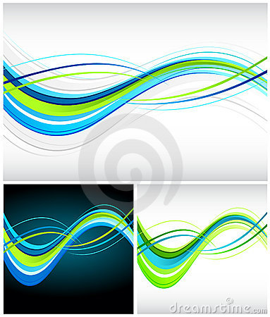 Blue and green flowing lines