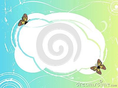 Blue green frame with butterflies 2