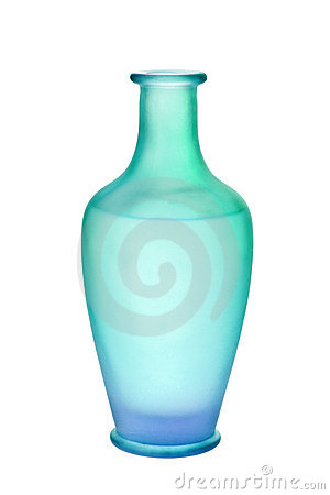 Blue Green Frosted Glass Vase Isolated