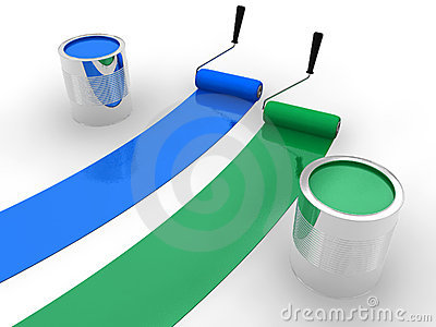 Blue and green paint