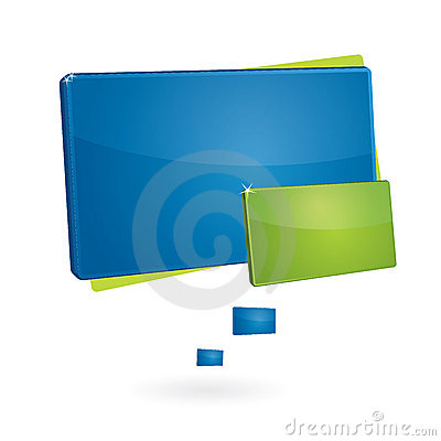 Blue and green rectangular speech bubb
