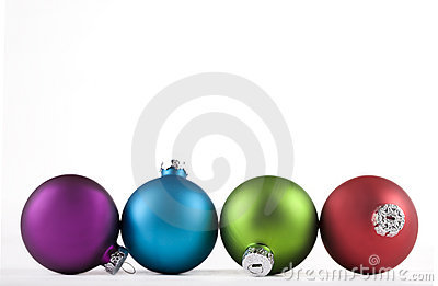 Blue and green, and red, Christmas ornaments