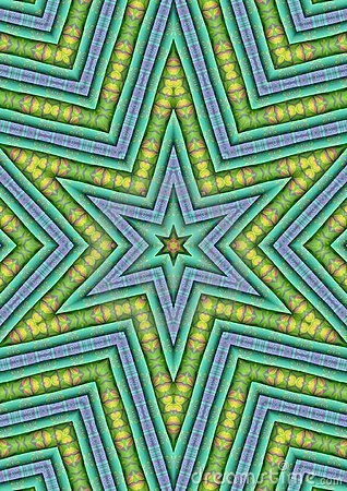 Blue Green Star Shaped Pattern