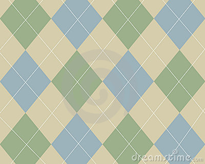 Blue, green and tan argyle