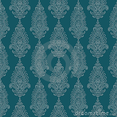 Blue Green vintage Paisley damask wallpaper