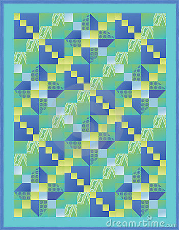 Blue, Green and Yellow Quilt