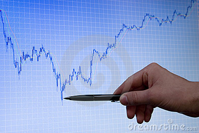 Blue growing forex chart on display and pen