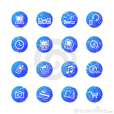 Blue grunge e-shop icons