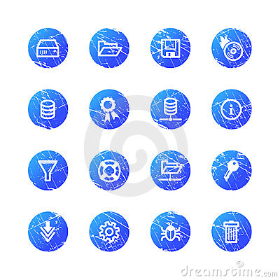 Blue grunge server icons