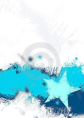 Blue Grunge Star Background