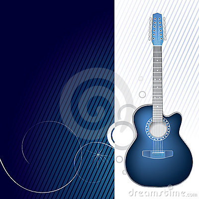 Blue guitar design graphic