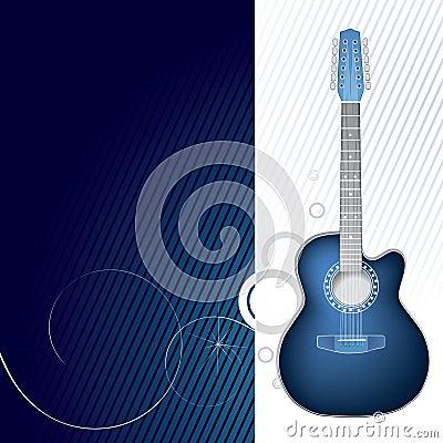 Blue guitar design graphic