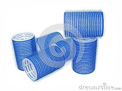 Blue hair curler